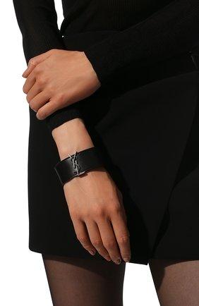 Женский кожаный браслет SAINT LAURENT черного цвета, арт. 586800/0IH0D | Фото 2