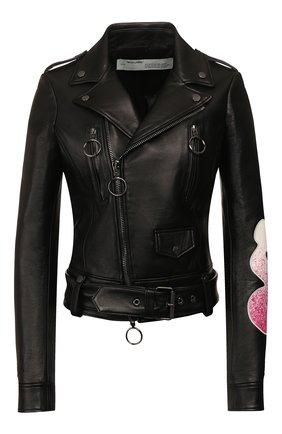Женская кожаная куртка OFF-WHITE черного цвета, арт. 0WJG002R209861051028 | Фото 1