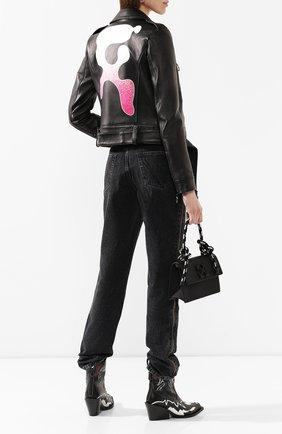 Женская кожаная куртка OFF-WHITE черного цвета, арт. 0WJG002R209861051028 | Фото 2