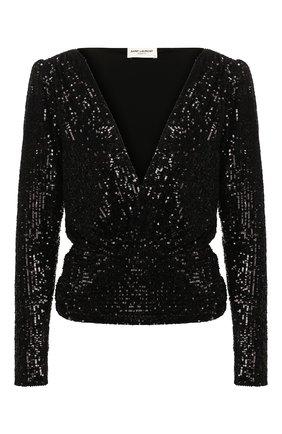 Женская блузка SAINT LAURENT черного цвета, арт. 619394/YB0K2 | Фото 1