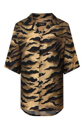 Женская шелковая блузка DSQUARED2 коричневого цвета, арт. S72DL0648/S52758 | Фото 1