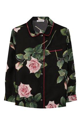Детское шелковая блузка DOLCE & GABBANA черного цвета, арт. L54S49/IS1BE/2-6 | Фото 1