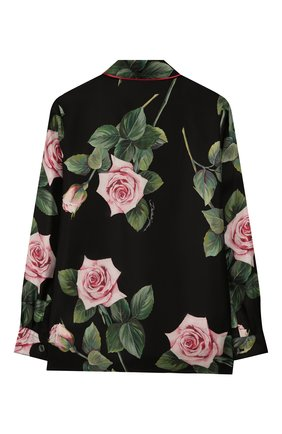 Детское шелковая блузка DOLCE & GABBANA черного цвета, арт. L54S49/IS1BE/2-6 | Фото 2