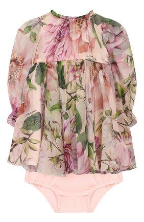 Женский комплект из платья и шорт DOLCE & GABBANA светло-розового цвета, арт. L22DE9/IS1AF | Фото 1