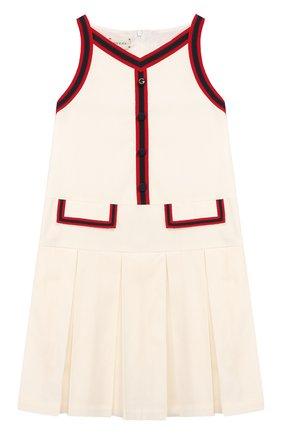 Детское хлопковое платье GUCCI белого цвета, арт. 595341/ZB365 | Фото 1
