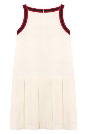 Детское хлопковое платье GUCCI белого цвета, арт. 595341/ZB365 | Фото 2
