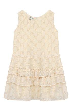Детское хлопковое платье GUCCI белого цвета, арт. 595345/ZABI8 | Фото 1