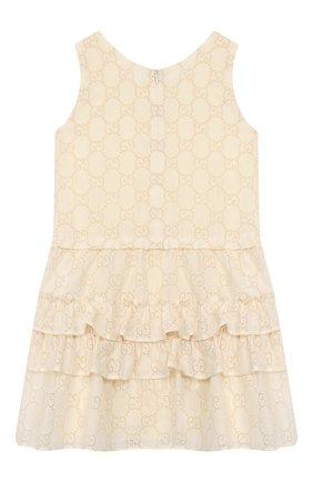 Детское хлопковое платье GUCCI белого цвета, арт. 595345/ZABI8 | Фото 2