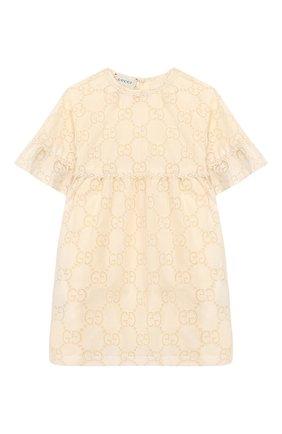 Женский хлопковое платье GUCCI белого цвета, арт. 595367/ZABI8 | Фото 1