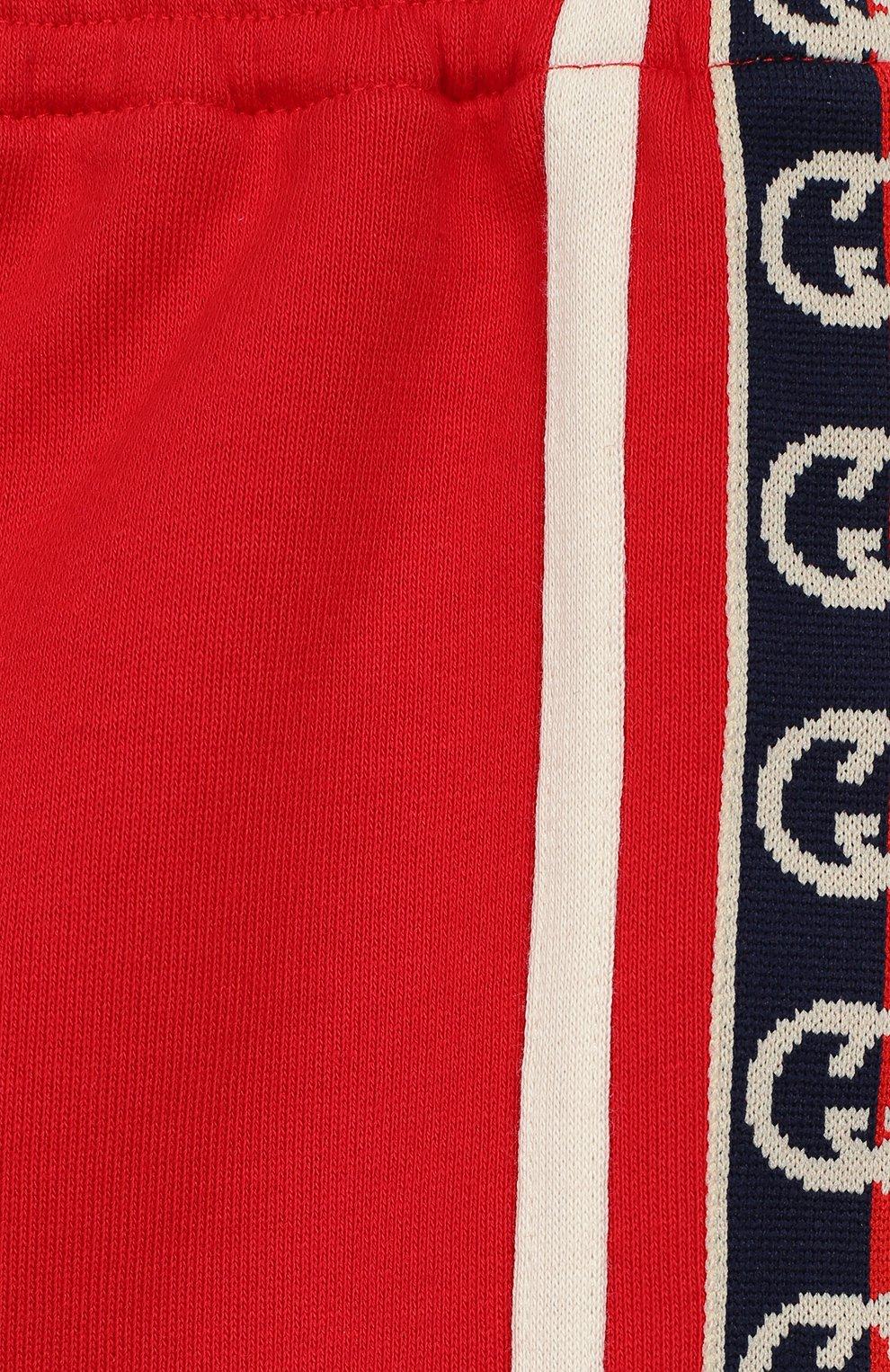 Детские хлопковые шорты GUCCI красного цвета, арт. 600053/XJB4G | Фото 3