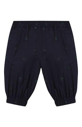 Детские хлопковые брюки GUCCI синего цвета, арт. 600353/XWAHH | Фото 1