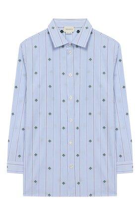 Детская хлопковая рубашка GUCCI голубого цвета, арт. 600376/XWAHS | Фото 1 (Материал внешний: Хлопок; Рукава: Длинные; Случай: Повседневный; Ростовка одежда: 12 лет | 152 см, 4 года | 104 см, 5 лет | 110 см, 6 лет | 116 см, 8 лет | 128 см)