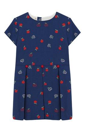 Женский хлопковое платье GUCCI синего цвета, арт. 604090/XWAH3 | Фото 1