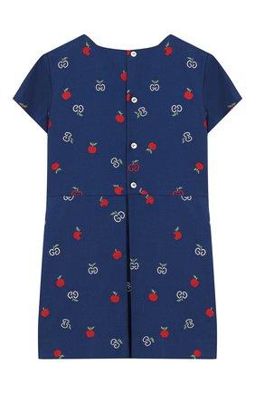 Женский хлопковое платье GUCCI синего цвета, арт. 604090/XWAH3 | Фото 2