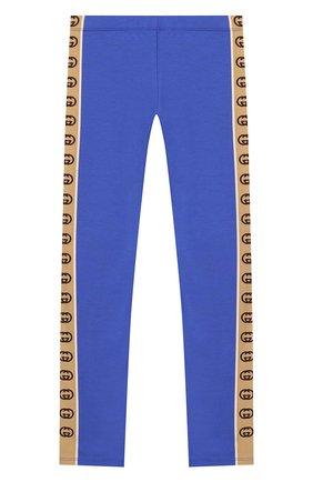 Детские хлопковые брюки GUCCI синего цвета, арт. 607495/4K008 | Фото 1