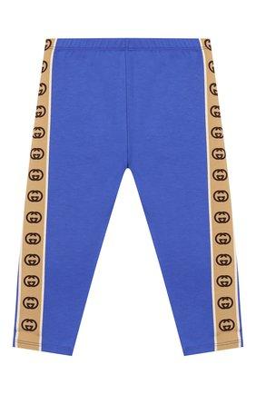 Детские хлопковые брюки GUCCI синего цвета, арт. 607496/3K007 | Фото 1