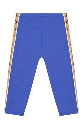 Детские хлопковые брюки GUCCI синего цвета, арт. 607496/3K007 | Фото 2