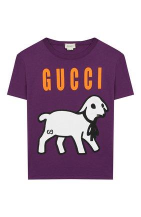 Детская хлопковая футболка GUCCI фиолетового цвета, арт. 609675/XJB92 | Фото 1