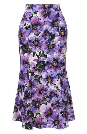 Женская шелковая юбка DOLCE & GABBANA фиолетового цвета, арт. F4BPJT/FSAZ0 | Фото 1