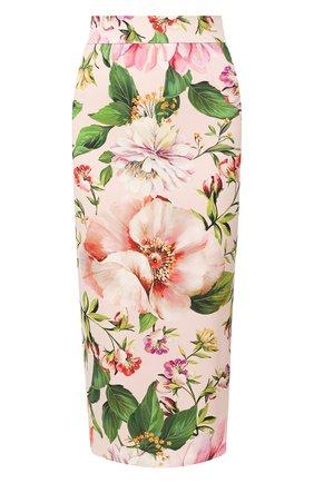 Женская шелковая юбка DOLCE & GABBANA розового цвета, арт. F4BSYT/FSAZK | Фото 1