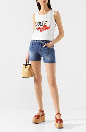 Женские джинсовые шорты DOLCE & GABBANA светло-голубого цвета, арт. FTBQ9D/G8990 | Фото 2