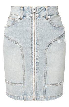 Женская джинсовая юбка OFF-WHITE голубого цвета, арт. 0WYF004R207730687100   Фото 1