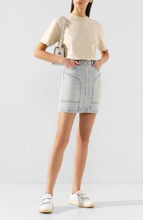 Женская джинсовая юбка OFF-WHITE голубого цвета, арт. 0WYF004R207730687100   Фото 2