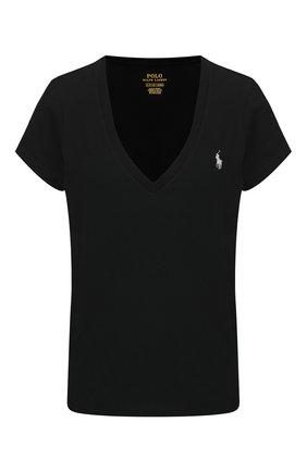 Женская хлопковая футболка POLO RALPH LAUREN черного цвета, арт. 211810419 | Фото 1