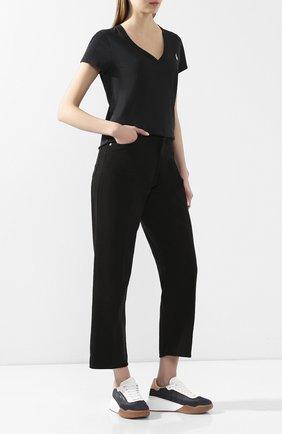 Женская хлопковая футболка POLO RALPH LAUREN черного цвета, арт. 211810419 | Фото 2