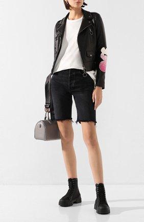 Женские джинсовые шорты AGOLDE черного цвета, арт. A089-1157 | Фото 2