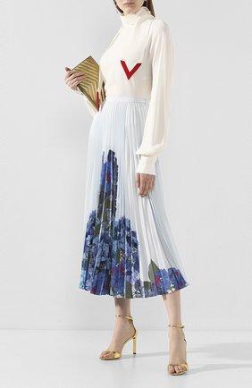 Женская шелковая юбка VALENTINO голубого цвета, арт. TB3RA5K157D | Фото 2