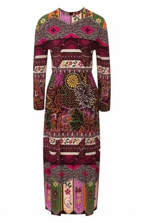 Женское шелковое платье VALENTINO разноцветного цвета, арт. TB3VAQJ5583   Фото 1 (Материал внешний: Шелк; Длина Ж (юбки, платья, шорты): Миди; Рукава: 3/4; Случай: Повседневный)