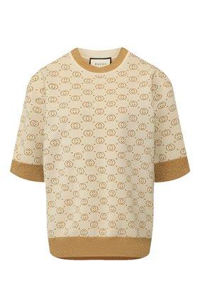 Женская шерстяной пуловер GUCCI бежевого цвета, арт. 605920/XKAHT   Фото 1