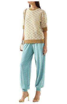 Женская шерстяной пуловер GUCCI бежевого цвета, арт. 605920/XKAHT   Фото 2