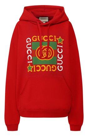 Женская хлопковое худи GUCCI красного цвета, арт. 605154/XJB8V   Фото 1