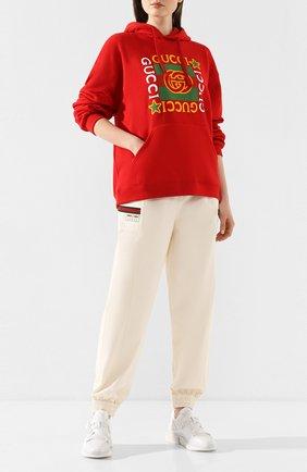 Женская хлопковое худи GUCCI красного цвета, арт. 605154/XJB8V   Фото 2