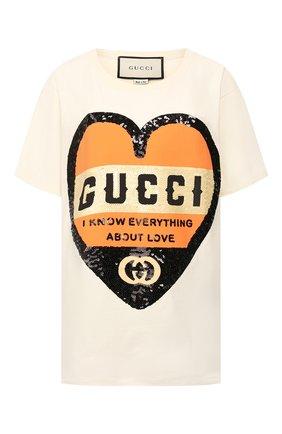 Женская хлопковая футболка GUCCI бежевого цвета, арт. 492347/XJB72   Фото 1