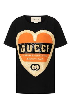 Женская хлопковая футболка GUCCI черного цвета, арт. 492347/XJB72 | Фото 1