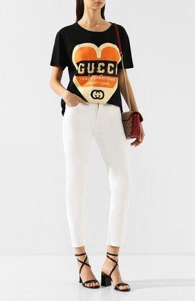 Женская хлопковая футболка GUCCI черного цвета, арт. 492347/XJB72 | Фото 2