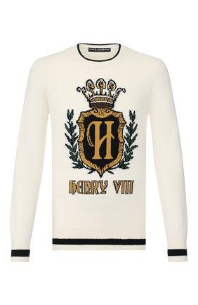 Мужской кашемировый свитер DOLCE & GABBANA белого цвета, арт. GX841T/JAWUV | Фото 1