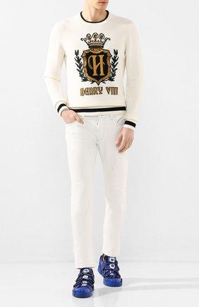 Мужской кашемировый свитер DOLCE & GABBANA белого цвета, арт. GX841T/JAWUV | Фото 2
