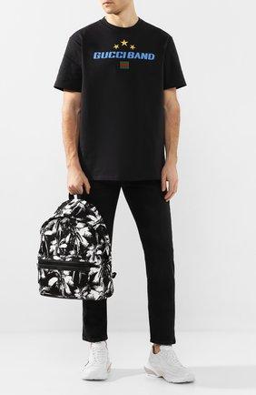 Мужской текстильный рюкзак city SAINT LAURENT черно-белого цвета, арт. 534967/HZU1U | Фото 2