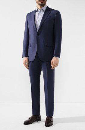 Мужская хлопковая сорочка ERMENEGILDO ZEGNA синего цвета, арт. 701327/9MS0PA | Фото 2