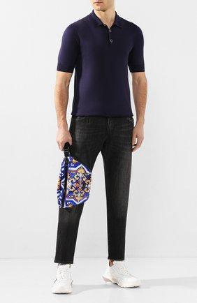 Мужская текстильная поясная сумка DOLCE & GABBANA синего цвета, арт. BM1760/AX534 | Фото 2