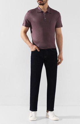 Мужское льняное поло BRIONI фиолетового цвета, арт. UJEB0L/P9621 | Фото 2 (Рукава: Короткие; Материал внешний: Лен; Длина (для топов): Стандартные; Застежка: Пуговицы)