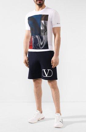 Мужские хлопковые шорты VALENTINO темно-синего цвета, арт. TV3MD02D63W | Фото 2