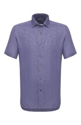Мужская льняная рубашка CORNELIANI синего цвета, арт. 85I126-0111912/00 | Фото 1 (Мужское Кросс-КТ: Рубашка-одежда; Рукава: Короткие; Длина (для топов): Стандартные; Материал внешний: Лен; Принт: Однотонные; Случай: Повседневный; Воротник: Акула)