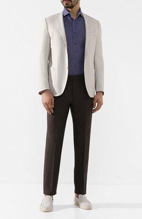 Мужская льняная рубашка CORNELIANI синего цвета, арт. 85I126-0111912/00 | Фото 2 (Мужское Кросс-КТ: Рубашка-одежда; Рукава: Короткие; Длина (для топов): Стандартные; Материал внешний: Лен; Принт: Однотонные; Случай: Повседневный; Воротник: Акула)