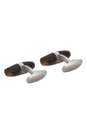 Мужские серебряные запонки ERMENEGILDO ZEGNA коричневого цвета, арт. ZCL1009 | Фото 2