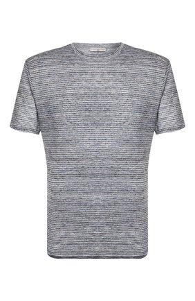 Мужская льняная футболка LUCIANO BARBERA темно-серого цвета, арт. 119565/81179 | Фото 1 (Рукава: Короткие; Материал внешний: Лен; Принт: Без принта; Длина (для топов): Стандартные; Стили: Кэжуэл)